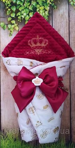 """Детский демисезонный  конверт на выписку """"Корона"""", конверт-одеяло, нарядный конверт на выписку (ВЕСНА/ ОСЕНЬ), фото 2"""