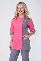 Серо-розовый медицинский костюм на молнии от производителя