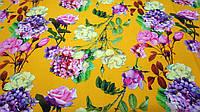Желтая ткань супер-софт цветочный принт, фото 1