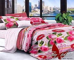 Постельное белье на полуторку, поликоттон 3D, розы,  1,5-спальный комплект, 10 расцветок