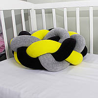 Бортик-косичка (бампер) захист в дитяче ліжко 165см жовто-чорно-сіра
