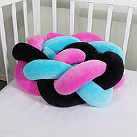 Бортик-косичка (бампер) захист в дитяче ліжко 165см малиново-чорно-блакитна