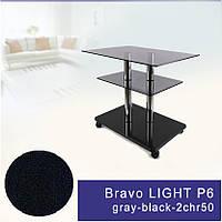 Стол журнальный стеклянный прямоугольный Commus Bravo Light P6 gray-black-2chr50
