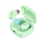 Беспроводные наушники вкладыши Мятные Зеленые с микрофоном и магнитным зарядным кейсом, сенсорные (XG-12)