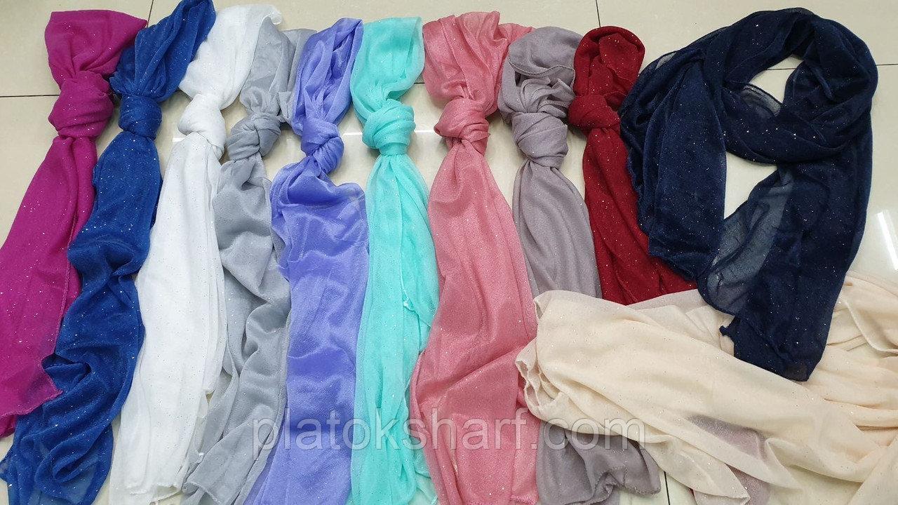 Шарфи жіночі, шарфики для жінок «Напилення блискітки» 150*50 см