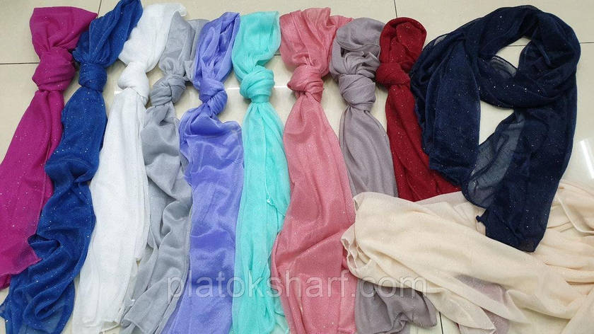 Шарфи жіночі, шарфики для жінок «Напилення блискітки» 150*50 см, фото 2