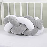 Бортик-косичка (бампер) захист в дитяче ліжко 165см 3, Для ліжечка, для люльки, біло-сіра