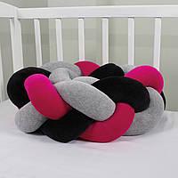 Бортик-косичка (бампер) захист в дитяче ліжко 165см 1, Для ліжечка, для люльки, малиново-сіро-чорна
