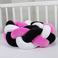 Бортик-косичка (бампер) захист в дитяче ліжко 165см 1, Для ліжечка, для люльки, рожево-чорно-біла