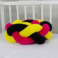 Бортик-косичка (бампер) захист в дитяче ліжко 165см 1, Для ліжечка, для люльки, жовто-малиново-чорна