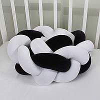 Бортик-косичка (бампер) захист в дитяче ліжко 165см 1, Для ліжечка, для люльки, чорно-біла