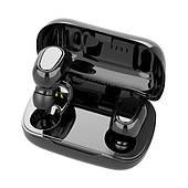 Беспроводные наушники вкладыши Чёрные с микрофоном и магнитным зарядным кейсом, сенсорные (TWS-L21)