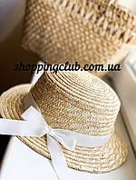 Соломенная шляпа женская канотье с белым бантом