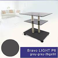 Стол журнальный стеклянный прямоугольный Commus Bravo Light P6 gray-gray-2bgs50