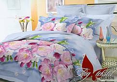 Постельное белье на полуторку, поликоттон 3D, цветы,  1,5-спальный комплект, 10 расцветок