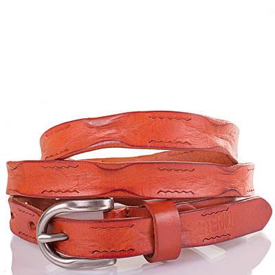Женский узкий кожаный ремень ETERNO (ЭТЕРНО) ETS5104 оранжевый