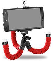 Гибкий мини штатив тринога трипод для телефона и камеры 25 см (осьминог, паук) Красный
