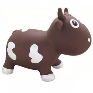 Игрушка прыгун Коровка Белла Kidzzfarm с насосом шоколадно-белая