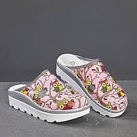 Медицинская обувь сабо совы розовые женские