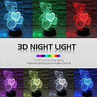 Ночник 3D Светильник Мишка с сердцем, 1 светильник- 7цветов света. Подарки детям