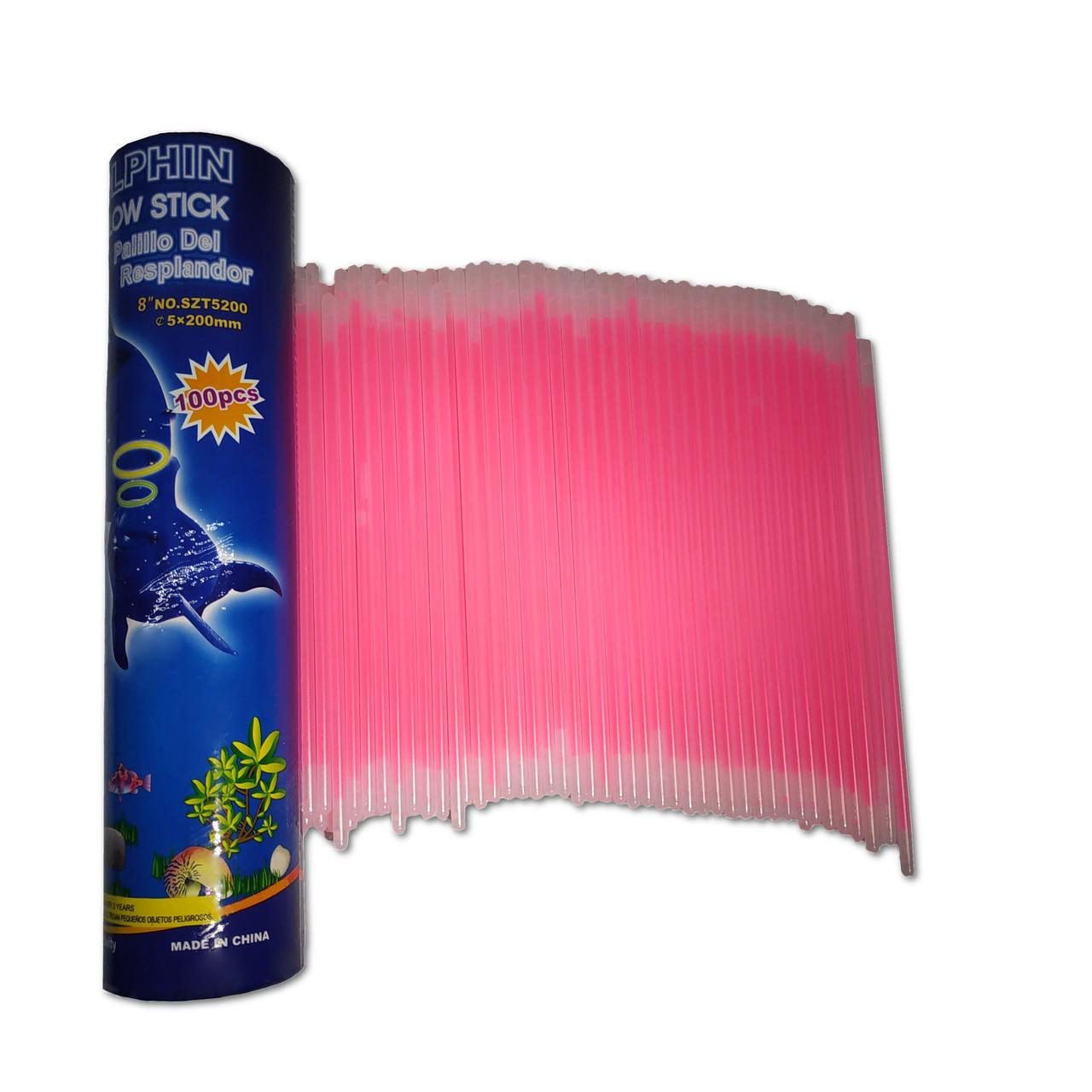Неоновые браслеты светящиеся SoFun glow stick розовые 100 штук