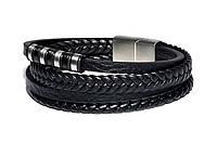 Браслет Мужской Кожаный MS Bracelet Black Leather Explorer 491msb мужской Черный 19 размер