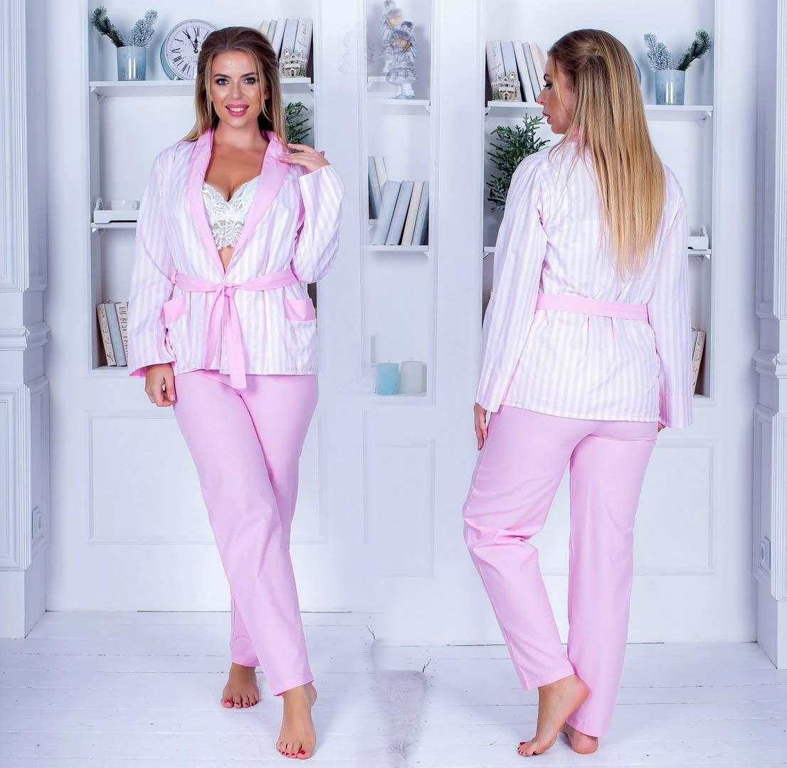 """Женский пижамный костюм-тройка с брюками в больших размерах 533-1 """"Сатин Полоска Комби"""""""