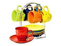 Чайный, кофейный сервиз, керамическая посуда на подставке 13 предметов Wellberg (кофейный и чайный сервиз)