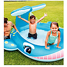 Надувной детский бассейн Intex 57440 Голубой Кит с фонтаном 201х96х91см 200л, фото 4