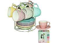 Чайный, кофейный сервиз, керамическая посуда на подставке 13 предметов SNT (кофейный и чайный сервиз)