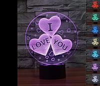 Настольный светильник I love you с 3D эффектом 7цветов света  3D ночник   Идеальный подарок на 14 февраля