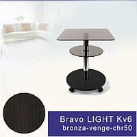 Стеклянный журнальный стол Commus Bravo Light400 Kv6 bronza-venge-chr50