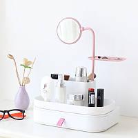 Настольный ящик-органайзер для хранения косметики с зеркалом 7009 White