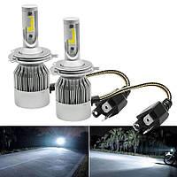 Комплект LED ламп для авто Ближний/Дальний Headlight С6 H4, светодиодные лампы в авто, передний свет