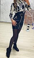 Юбка женская из эко-кожи с поясом, фото 1