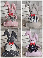 Зайчик-кролик ручної роботи з підвіскою, льон, бязь, сатин, іграшка, 23 см., 150/130 (цена за 1 шт. + 20 гр.), фото 1