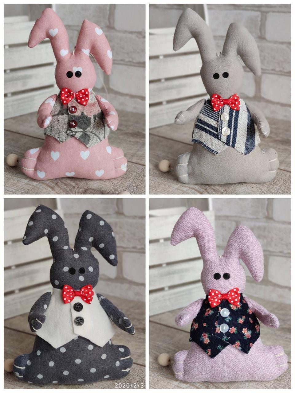 Зайчик-кролик ручної роботи з підвіскою, льон, бязь, сатин, іграшка, 23 см., 150/130 (цена за 1 шт. + 20 гр.)