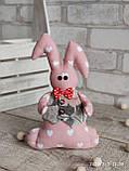 Зайчик-кролик ручної роботи з підвіскою, льон, бязь, сатин, іграшка, 23 см., 150/130 (цена за 1 шт. + 20 гр.), фото 2