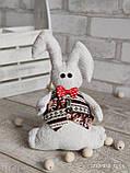 Зайчик-кролик ручної роботи з підвіскою, льон, бязь, сатин, іграшка, 23 см., 150/130 (цена за 1 шт. + 20 гр.), фото 5