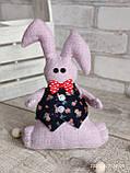 Зайчик-кролик ручної роботи з підвіскою, льон, бязь, сатин, іграшка, 23 см., 150/130 (цена за 1 шт. + 20 гр.), фото 6
