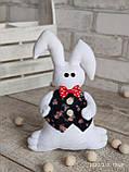 Зайчик-кролик ручної роботи з підвіскою, льон, бязь, сатин, іграшка, 23 см., 150/130 (цена за 1 шт. + 20 гр.), фото 7