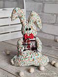 Зайчик-кролик ручної роботи з підвіскою, льон, бязь, сатин, іграшка, 23 см., 150/130 (цена за 1 шт. + 20 гр.), фото 9