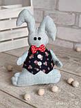 Зайчик-кролик ручної роботи з підвіскою, льон, бязь, сатин, іграшка, 23 см., 150/130 (цена за 1 шт. + 20 гр.), фото 10