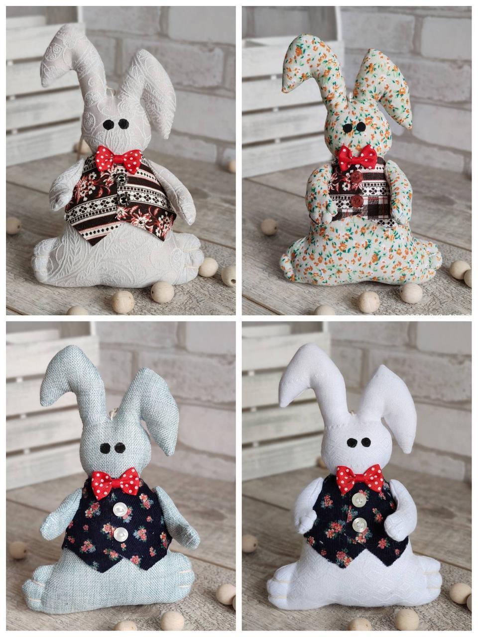 Іграшка зайчик-кролик із підвіскою, ручна робота, льон, бязь, сатин, 23 см., 150/130 (цена за 1 шт. + 20 гр.)