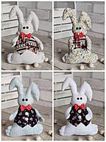 Іграшка зайчик-кролик із підвіскою, ручна робота, льон, бязь, сатин, 23 см., 150/130 (цена за 1 шт. + 20 гр.), фото 1
