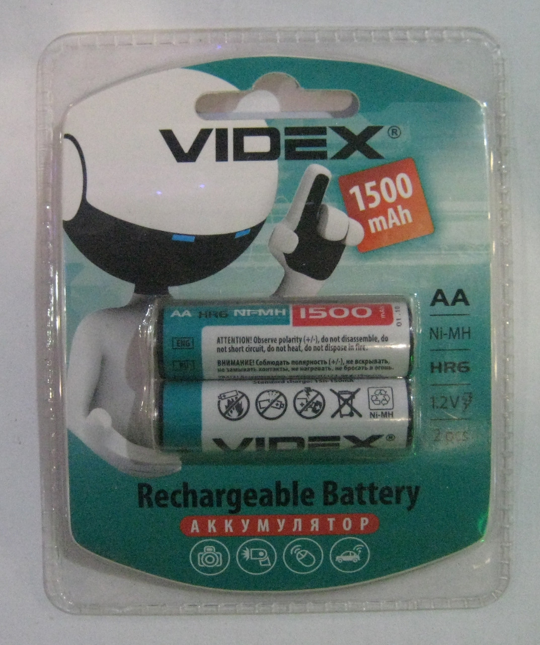 Аккумуляторы Videx AA 1500 mAh (палец)