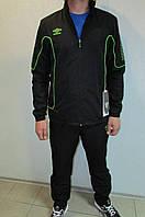Мужской спортивный костюм Umbro Prodigy Lined svit 461114 черный с зеленым код 306в