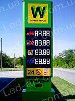Световая рекламная стела для АЗС со светодиодными табло 4000 х 1400 мм