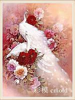 """Алмазная мозаика """"Белые павлины и цветы"""""""
