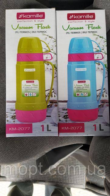 Термос Kamille Glass Pleasure 1000мл зеркальная колба, 2 чашки (KM-2080)